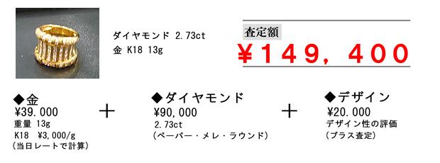 ダイヤモンド2.73ct 金K18 13g 金¥39,000 重量13g K18 ¥3,000/g(当日レートで計算) + ダイヤモンド¥90,000 2.73ct(ペーパー・メレ・ラウンド) +デザイン¥20,000 デザイン性の評価(プラス査定) 査定額¥149,400